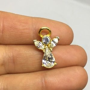 Angel brooch pin gold tone with clear rhinestone